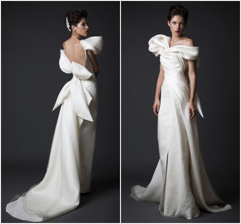 Krikor jabotian sheath a line wedding dress draped satin and