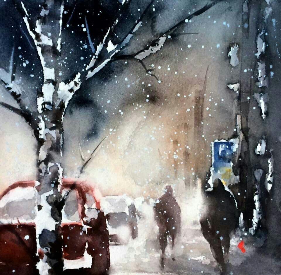 Watercolor landscape city building snow winter. By Helena trovaj