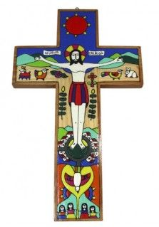 EL SALVADOR NEW CREATION CROSS 30CM: This 30cm tall cross was hand painted in El Salvador. It features Jesus crucified in the centre with the Holy Spirit below him and various nature images surrounding. Design may vary. Also available in other sizes.