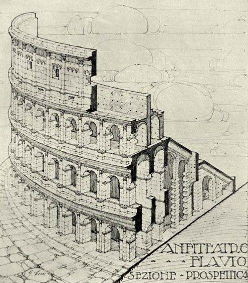 Tipos Reconstruccion Interpretativa Arquitectura Romana Arquitectura De Roma Coliseo Romano Dibujo