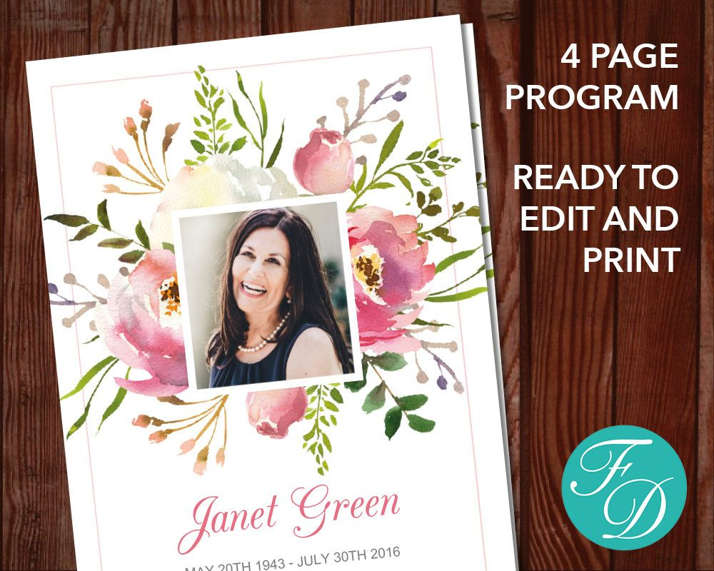 Floral Printable Funeral Program. Simply Purchase Your Funeral Template,  Download It, Edit With  Funeral Template Download