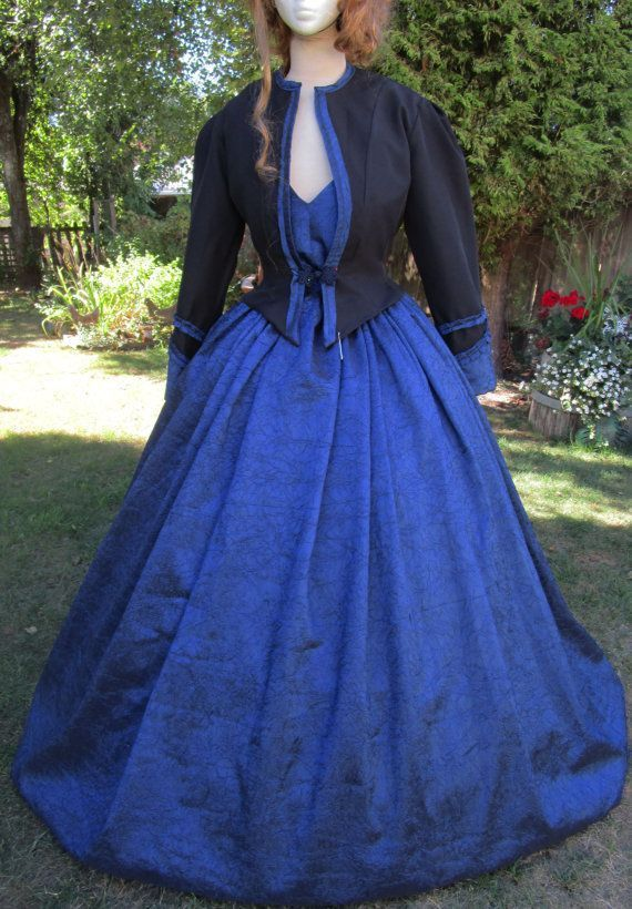 Stunning 3 pce Royal Blue Crinkle Satin Marie Antoinette/Pompadour/Southern Belle Ball Gown Dress - Sm/Med #dressesfromthesouthernbelleera This absolutely stunning 3 Piece set is perfect for the well dressed Royal Woman of many Eras!  3 piece set comes with sleek button back camisole -style bodice, full and fabulous button waist skirt and an extremely sharp tailored Jacket with detailed sleeves and frog enclosure at waist. #dressesfromthesouthernbelleera Stunning 3 pce Royal Blue Crinkle Satin M #dressesfromthesouthernbelleera