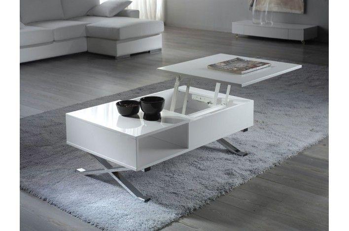 Mesa de centro elevable blanca alto brillo - Merkamueble ...