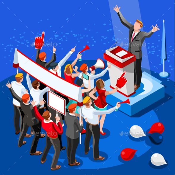 Election Infographic Speaker Conference Vector Isometric People