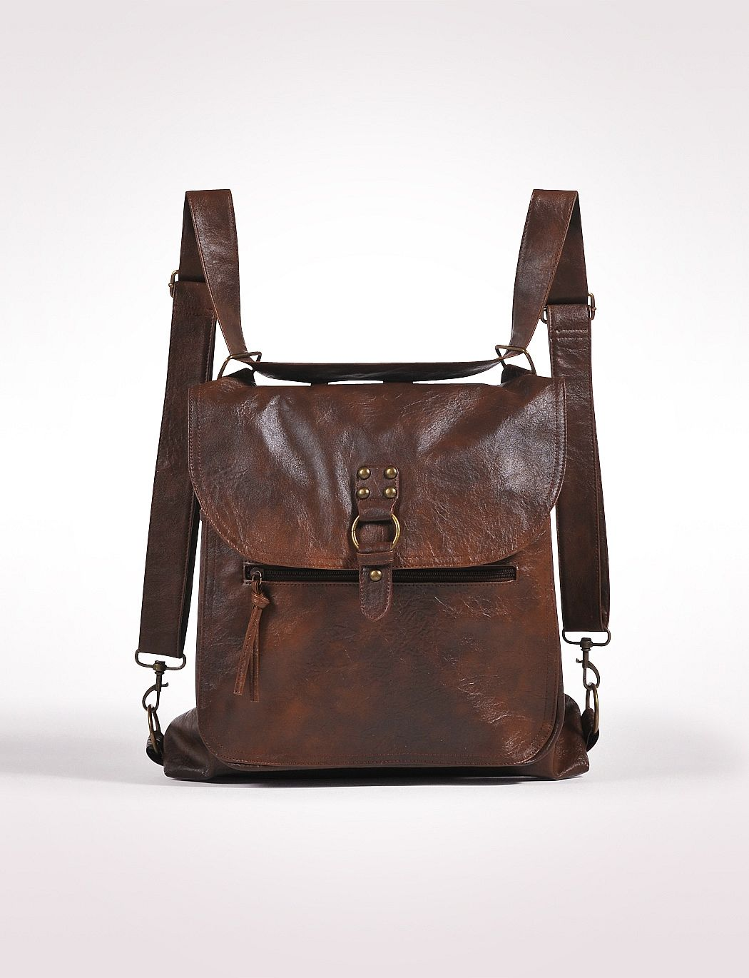 brown leather convertible bag with traditional purse style and ...
