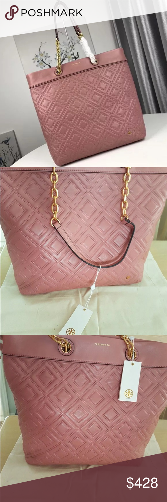 57ac36c1007 Tory Burch Fleming Tote- Pink Magnolia 🌸Pink Magnolia Ladylike quilting  and chains  the