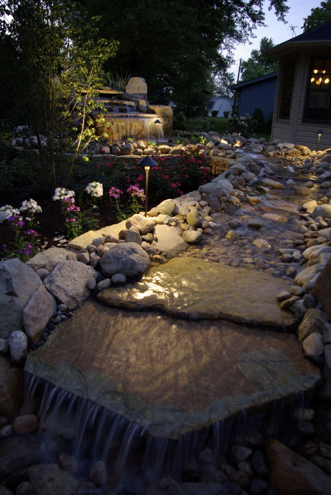 I wear my sunglasses night waterfall accented by landscape explore muncie indiana landscape lighting and more aloadofball Image collections