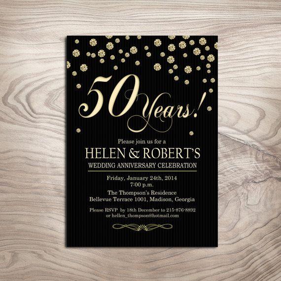 Diamond Gold Milestone Wedding Anniversary Invitation