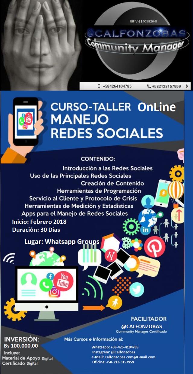 Taller Online De Redes Sociales Estrategias De Comunicación Redes Sociales Manejo De Redes Sociales