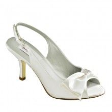 beautiful slingback, open toe shoe with stylish side bow detail.    Heel height: Approx 3 inches    Colours: White Dyeable Satin or dyed to ivory    Sizes: UK 3 - 9 M (US 5 - 11, EU 36 - 42) including half sizes    Dispatch: Allow upto 2-3 weeks         Product Reviews