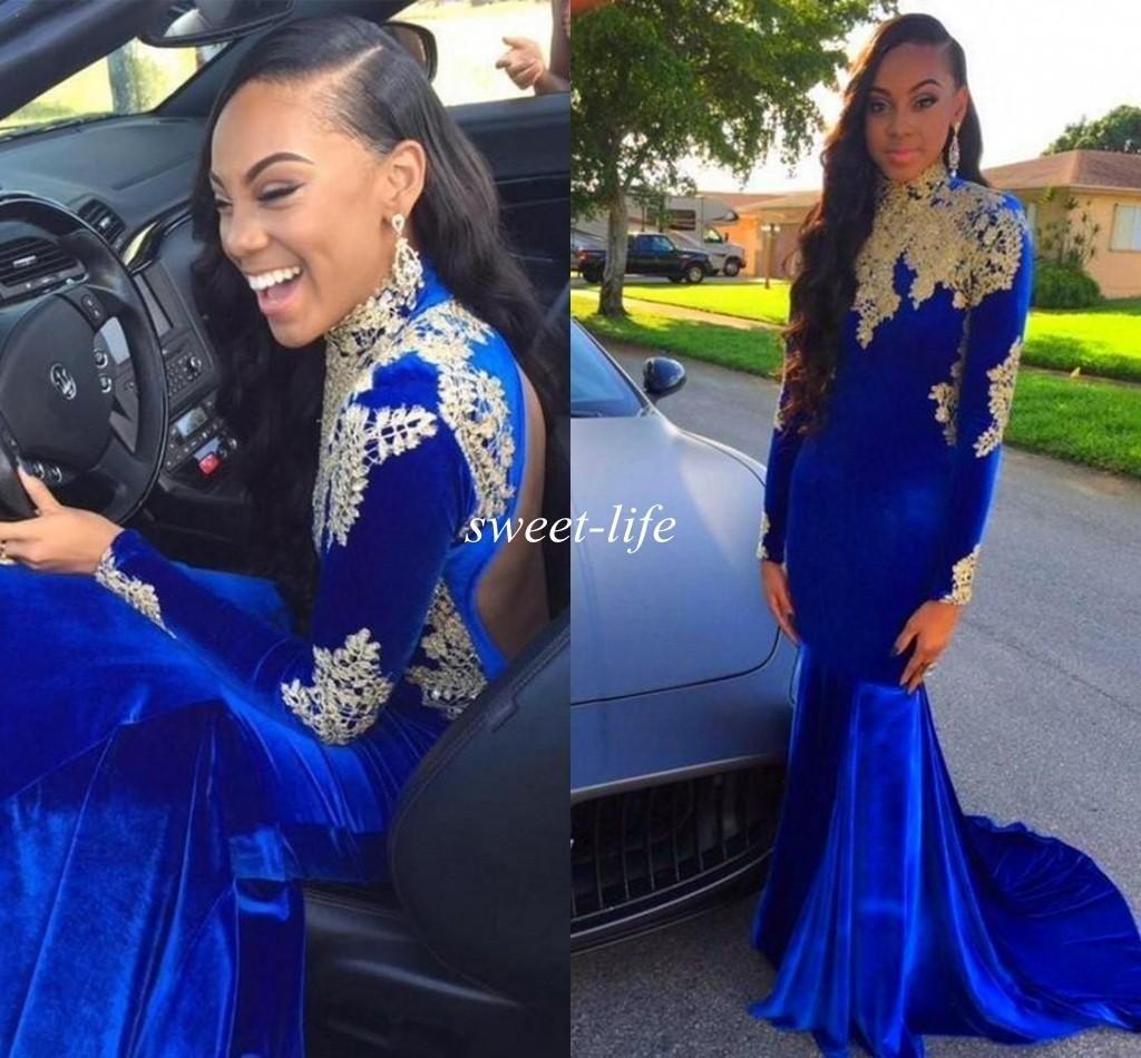Long sleeves blue velvet prom dresses backless mermaid with gold
