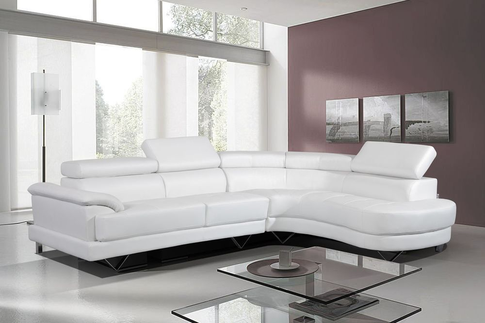 Cosmo White Leather Corner Sofa Right