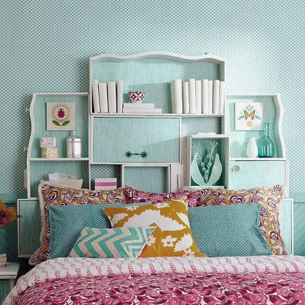 Bright Bedroom Design Ideas With Shelf Headboard