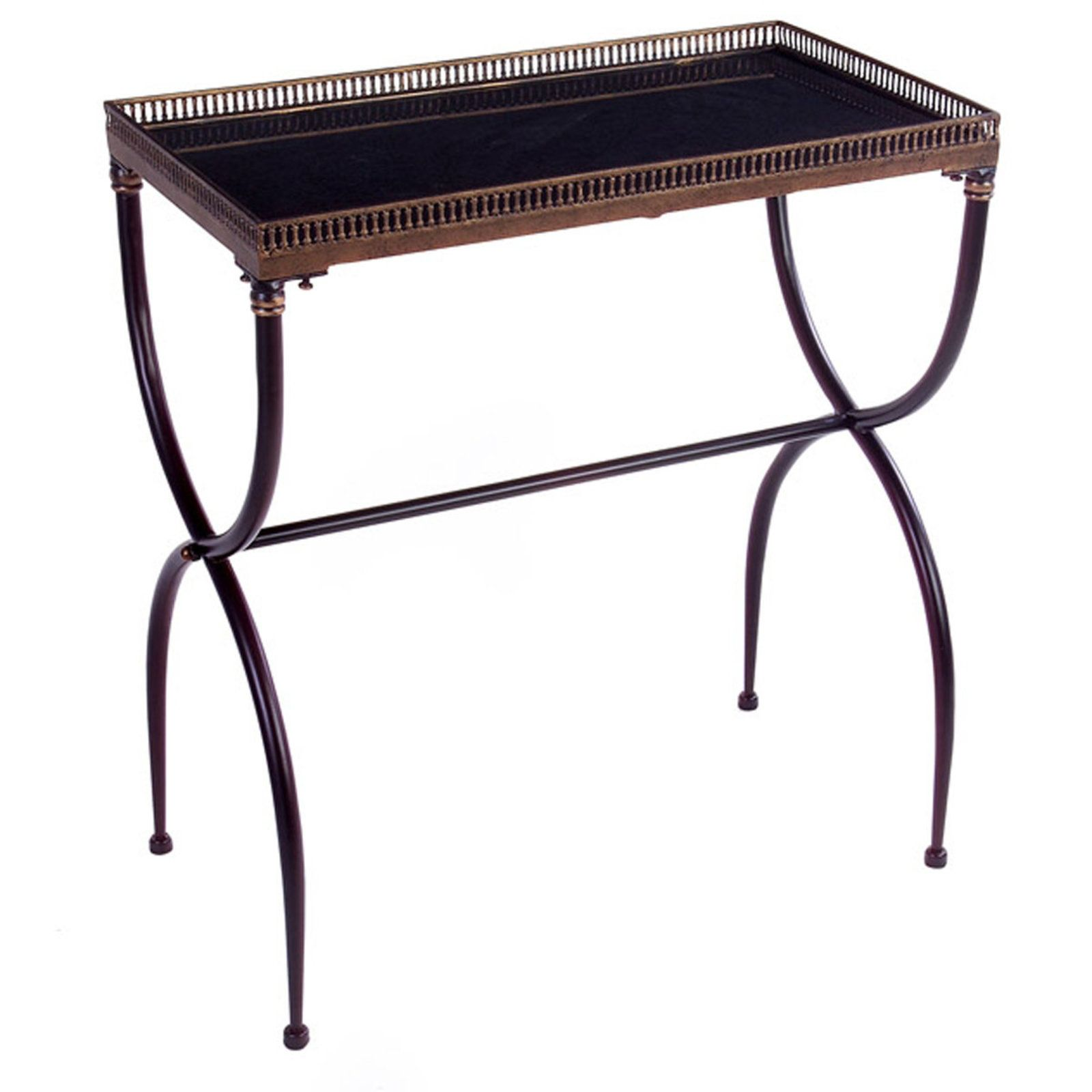 Black and Gold X-Leg Accent Table black_gold