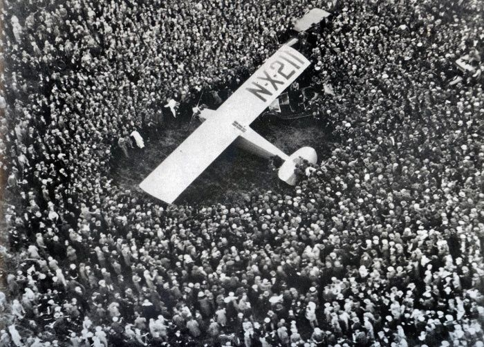 Image result for lindbergh completes his solo flight to paris