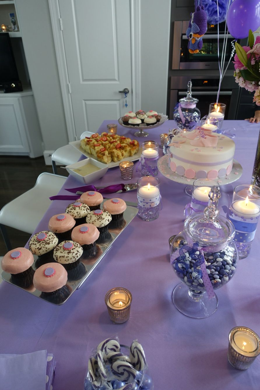 Baby shower, girl , purple, pink , table