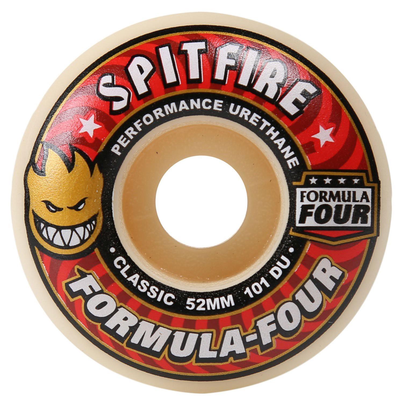 Set of 4 Spitfire Formula 4 Conical Full White 52mm 101d Red Skateboard Wheels