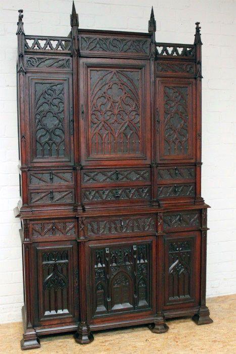 French Gothic Cabinet In Oak 19th Century Ebay Gothic Decor Gothic House Victorian Furniture