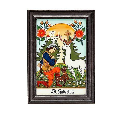 Traditionelle hinterglasmalerei aus sandl im m hlviertel mit motiv des hl hubertus nach alter - Fruhlingsdeko im glas ...