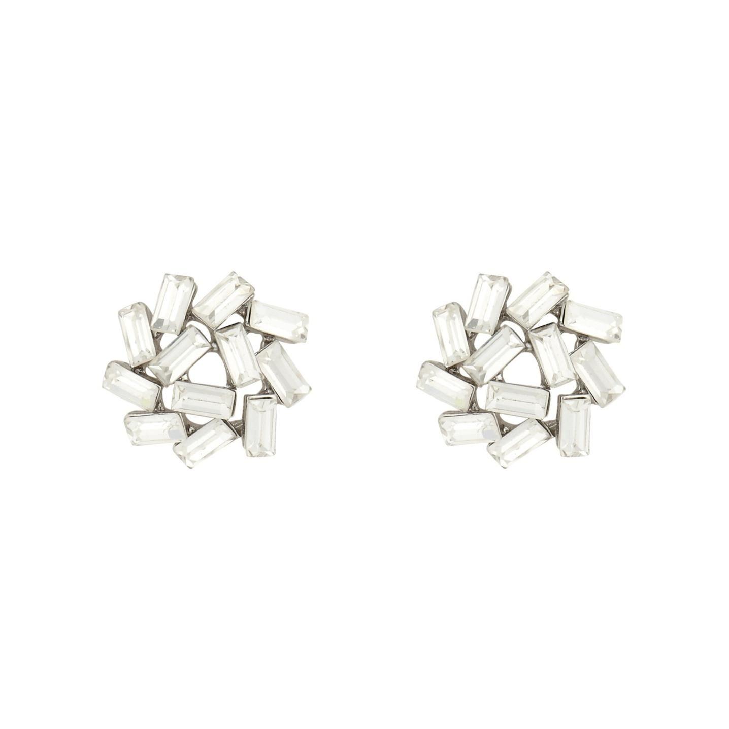 Designer Silver Baguette Stone Cer Stud Earrings 1