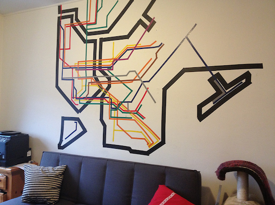 Electrical tape mural of the nyc subway system nyc subway electrical tape mural of the nyc subway system wall muralsmap sciox Choice Image