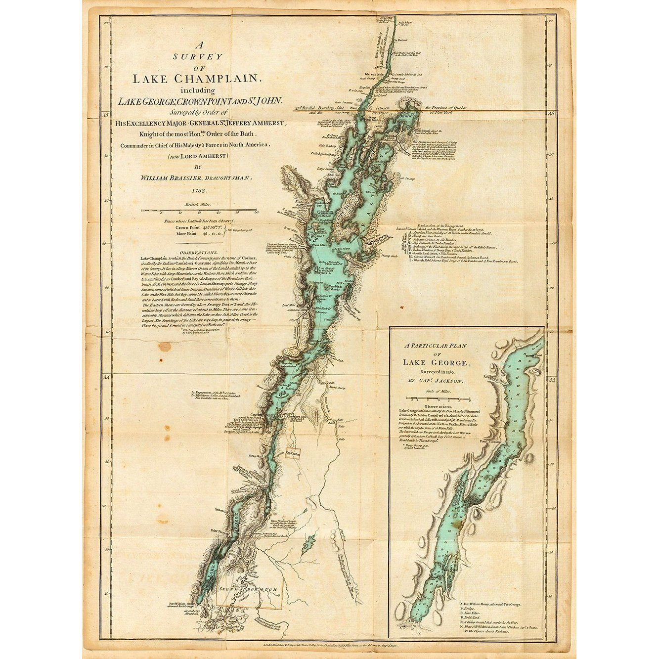 Old Map Of Lake Champlain Lake George Valcour Island Global