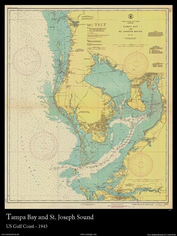 Nautical Map of Tampa Bay -1943 Nautical Chart in 2019