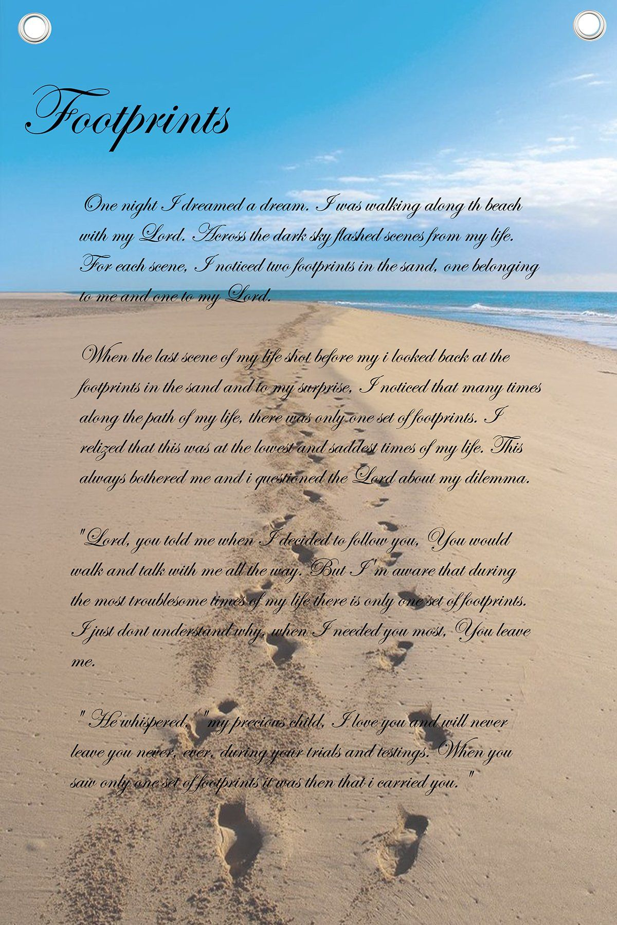 Footprints In The Sand Poem Wall Quotes Canvas Banner Footprints