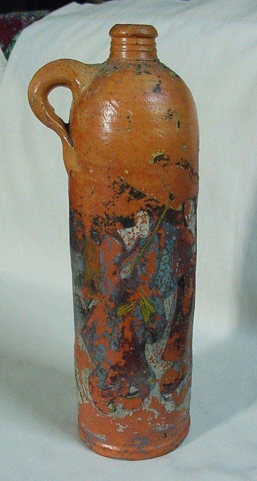 Gorgeous Tall Vintage German Terracotta Stoneware Jug Apollinaris
