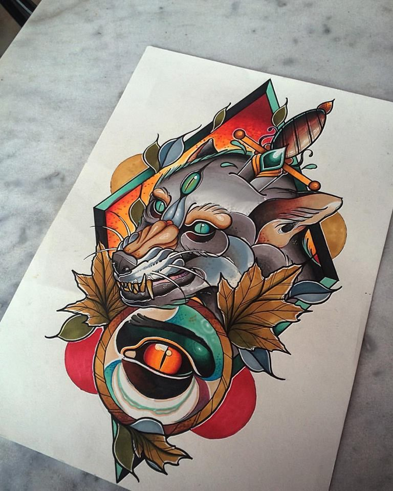 Brand New Neotraditional Illustration From Aber! wolf
