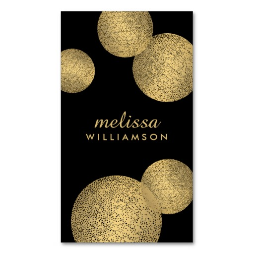 Stylish Gold Circles Customizable Business Card Template - a luxe design for fashion and beauty professionals. Personalize the front and back with your own info.
