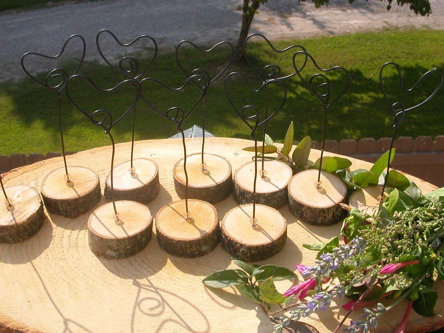 12 Rustic Wedding Hearts Table Place Menu Number Holders Earthed