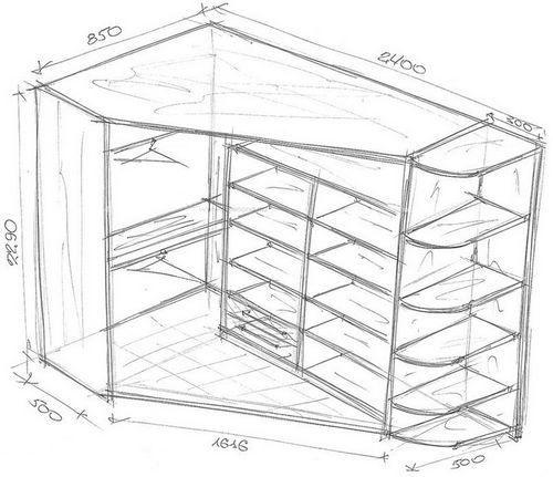 планировка угловой гардеробной | Угловой шкаф, Гардеробные ...  Дизайн Спальни С Угловой Гардеробной