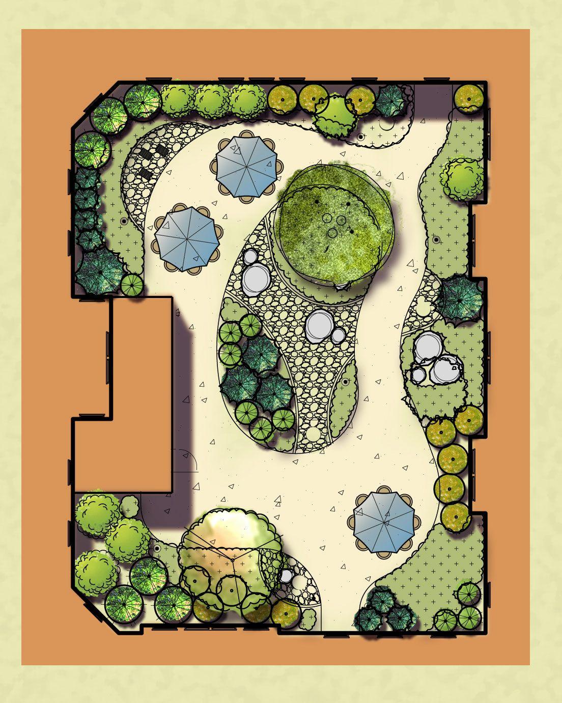 Plan rendering of the zen garden at avita assisted for Ornamental grasses design plans