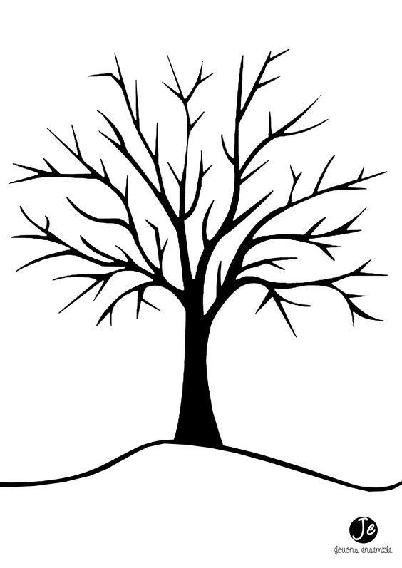 Pour r aliser cet arbre d 39 automne en gommettes il faut t l charger et imprimer le dessin arbre - Arbre en automne dessin ...