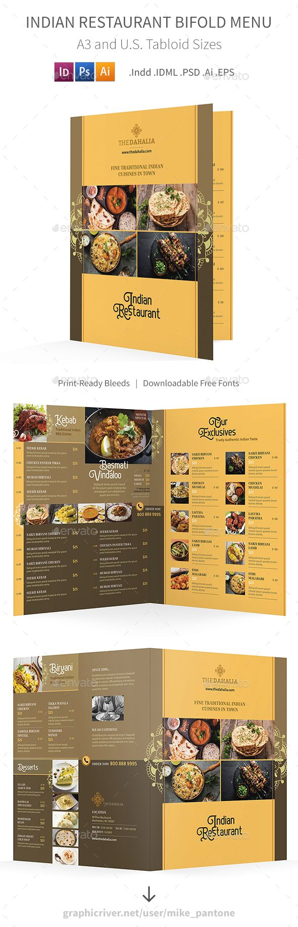 Indian Restaurant Bifold / Halffold Menu 2 | Menu templates, Food ...