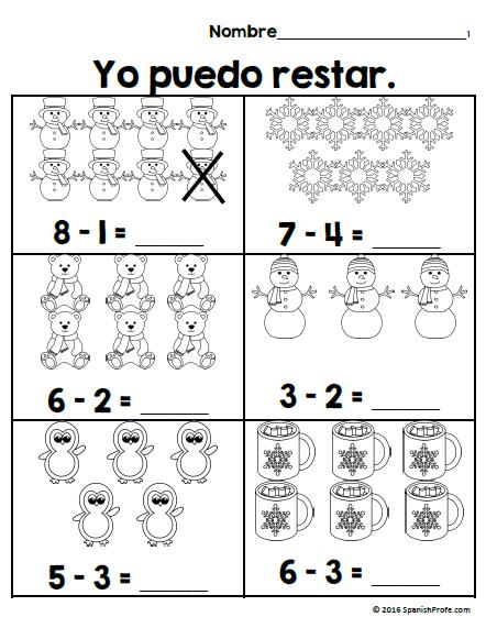 Cuántas Sílabas? (How Many Syllables?) Spanish Worksheets (Set of 5)
