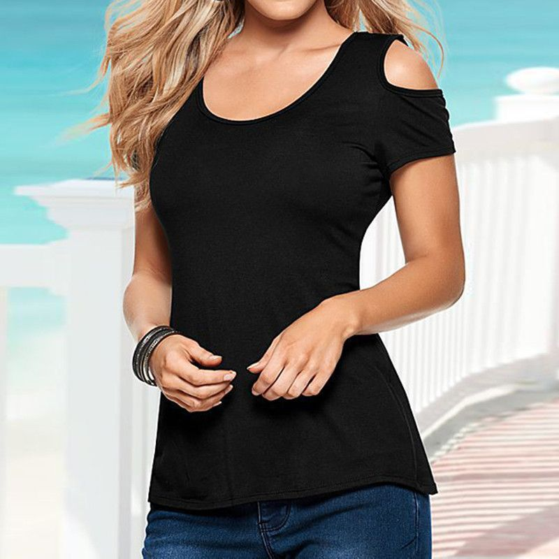 9ced2240c2743 Shoulder · Summer Blusas Sexy Women Blouses Lace Crochet Short Sleeve  Backless Off Shoulder Split Tops Blouse Shirt