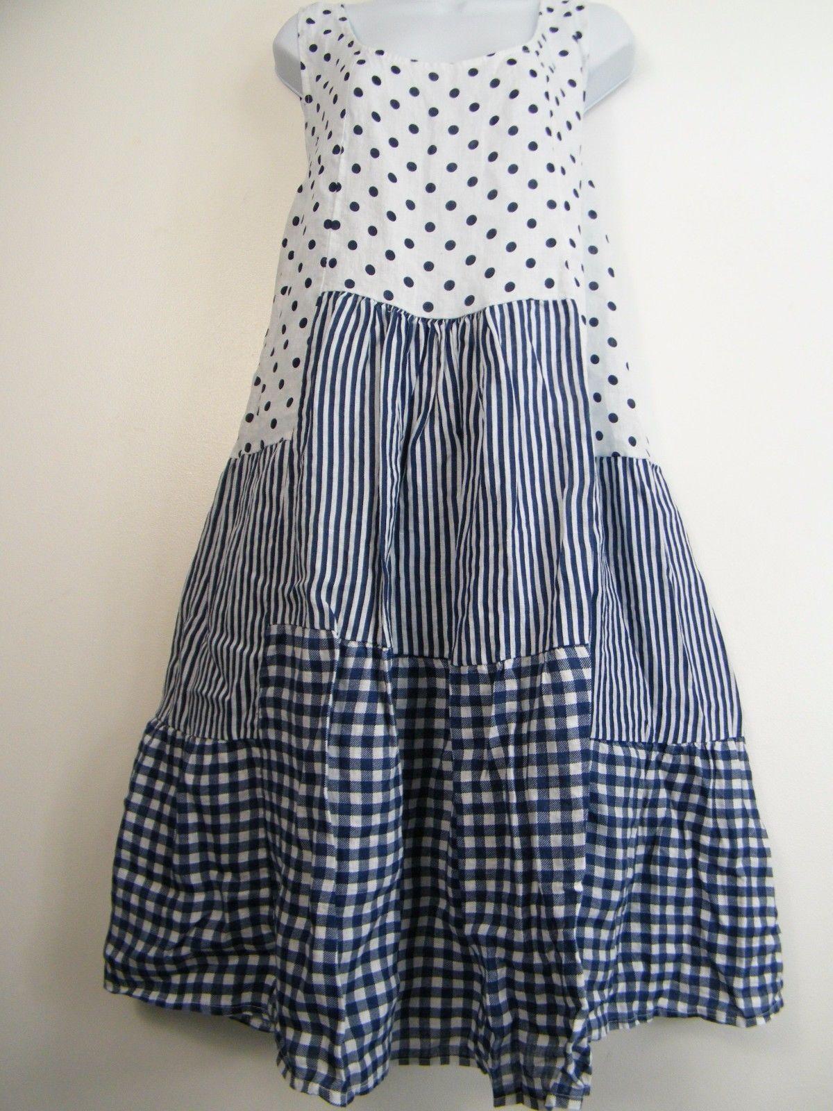 cda72a69f15 PLUS PLUS SIZE 100% LINEN SPOTTY STRIPY CHECK DESIGN LAGENLOOK DRESS SIZE  20-24 in Clothes
