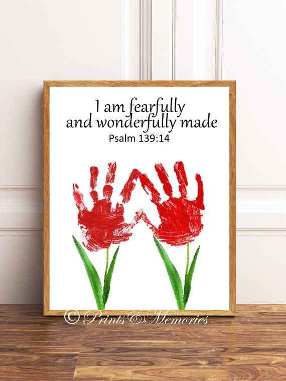I am fearfully and wonderfully made, Psalm 139:14, Flower Handprints, Diy Handprints, Bible verse handprints INSTANT DOWNLOAD