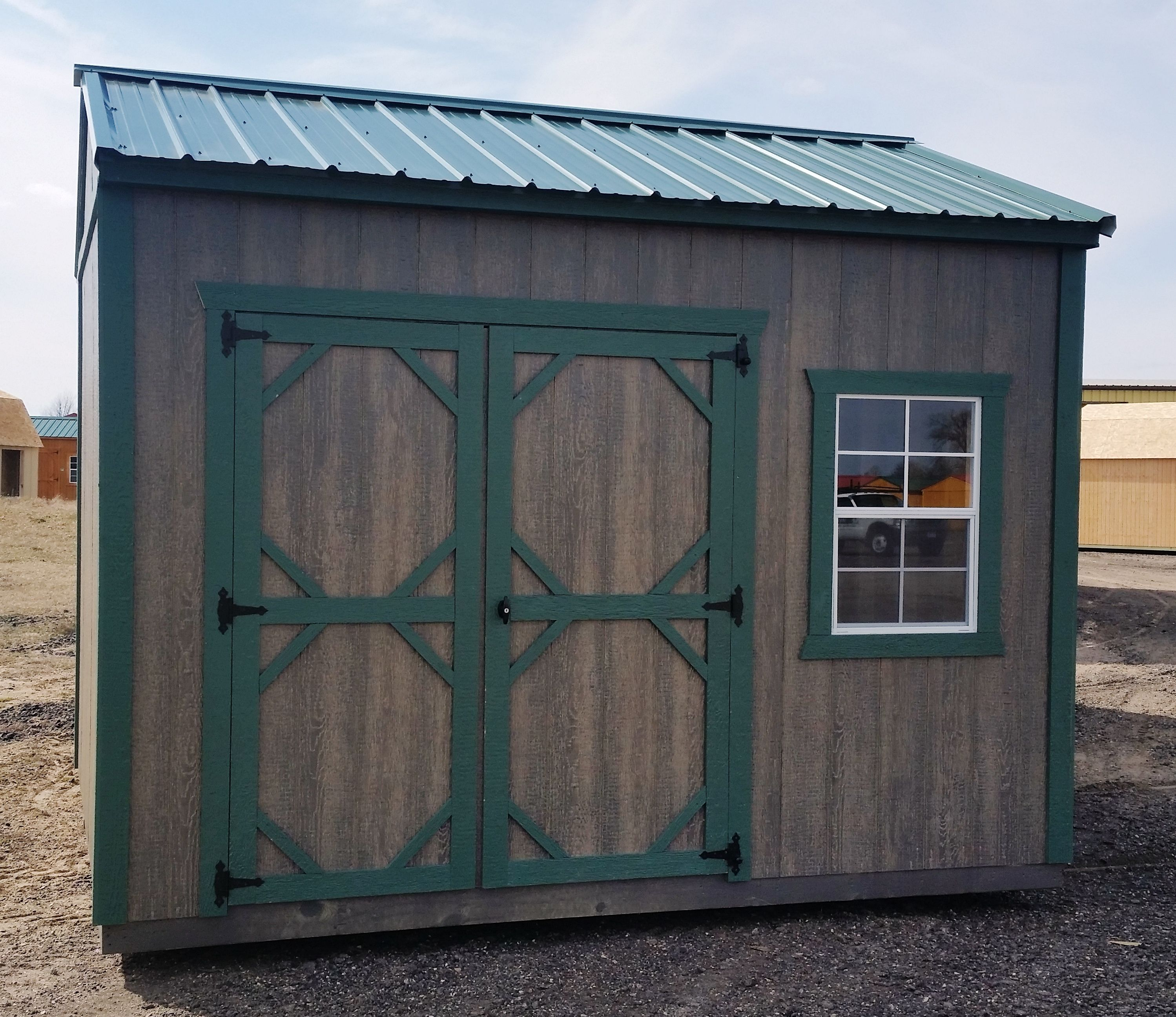 garden shed green steel roof with matching green trim lp smartside siding with haley driftwood stain mn made