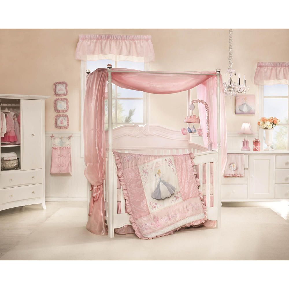 Baby cribs with canopy - Disney Baby Cinderella 7 Piece Crib Set