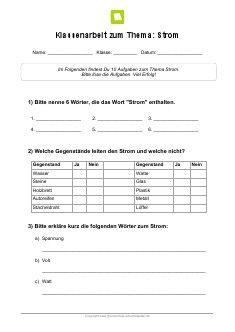 Arbeitsblatt: Klassenarbeit Strom | Kostenlose Arbeitsblätter ...