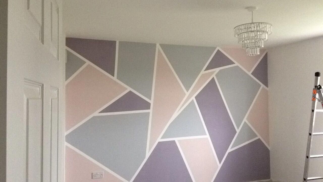 Geometric Painted Wall Using Frog Tape And Valspar Paint Pink Grey Purple Greyandpinkbedroomideas Wall Paint Patterns Geometric Wall Paint Bedroom Wall Paint
