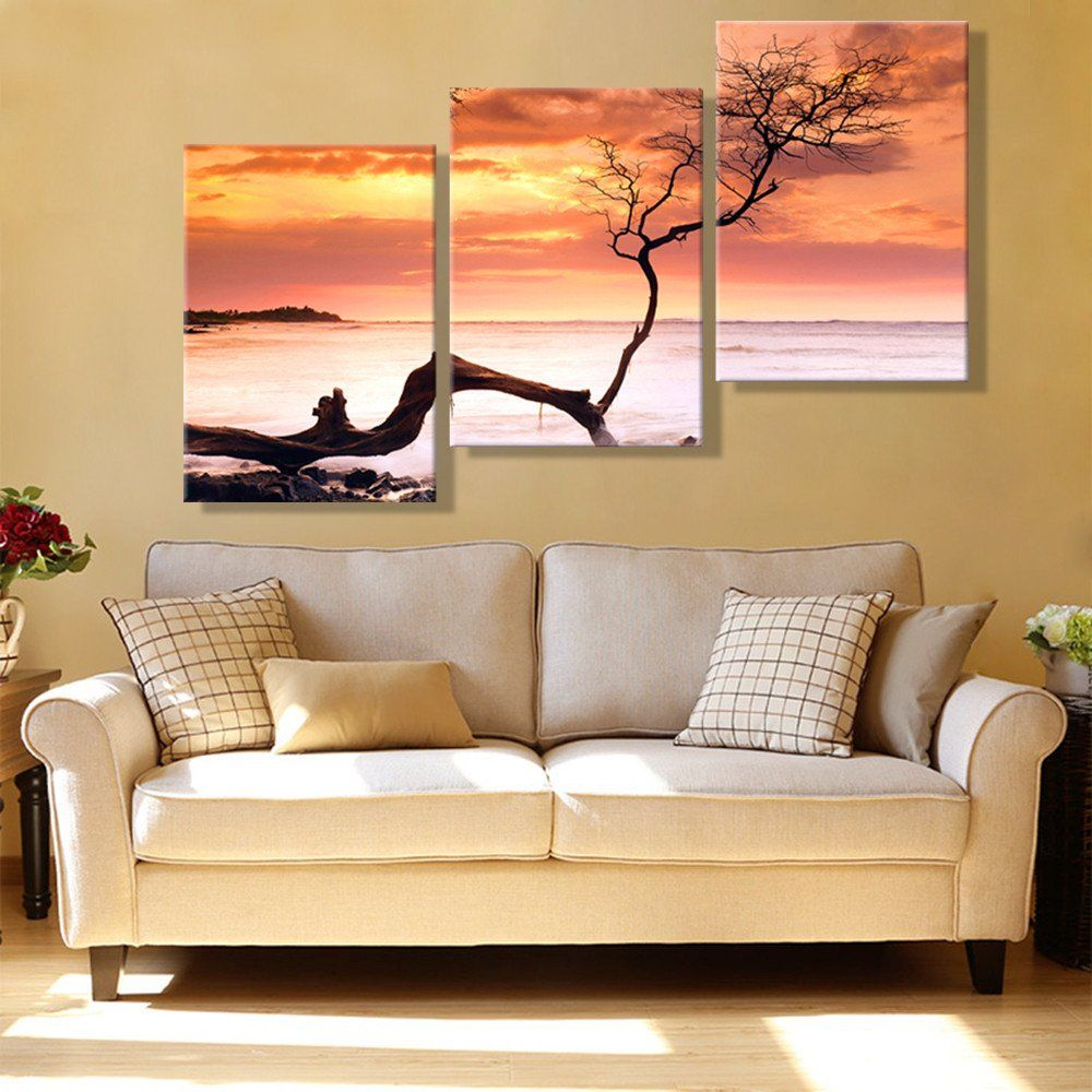 Paintings For Living Room Wall Oil Painting Canvas Tree On The Bank Landscape Wall Art Decoration