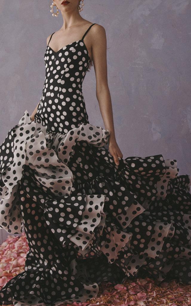 f9e36e5436 Carolina Herrera Ruffled Polka-Dot Satin Gown in 2019 | Products ...