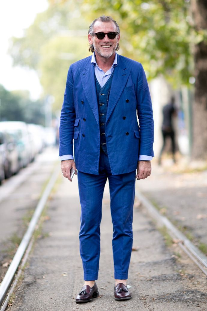 Alessandro Squarzi wearing Blue Suit, Navy Denim Waistcoat, Light ...