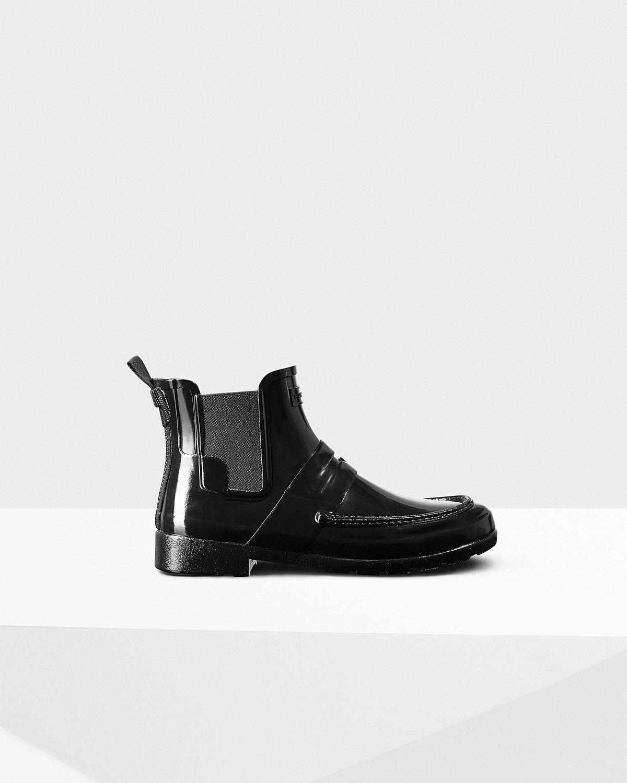 HUNTER Women's Original Refined Penny Loafer Chelsea Boots - BLACK. #hunter  #shoes #