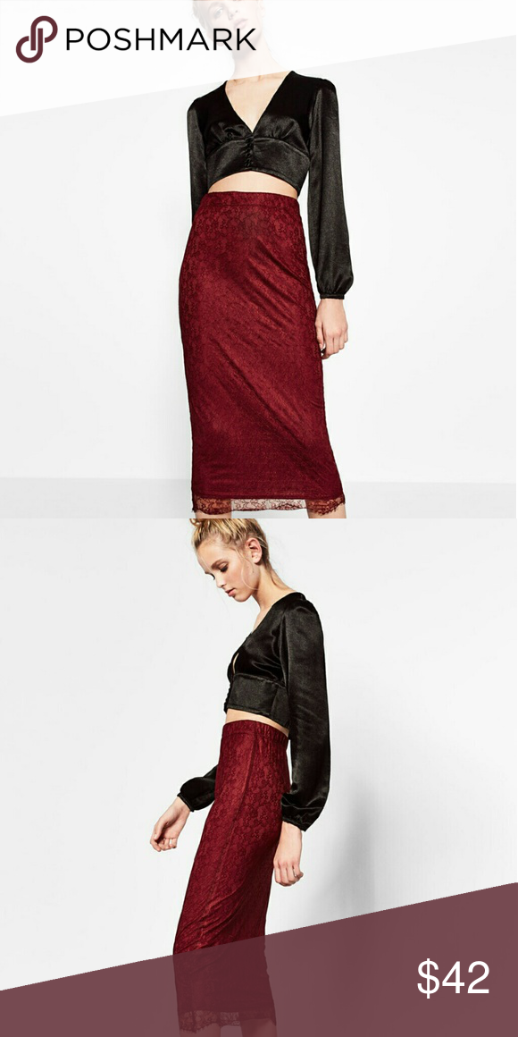 Zara Lace Midi Skirt Fitted lace midi wine skirt with elastic waistband Zara Skirts Midi