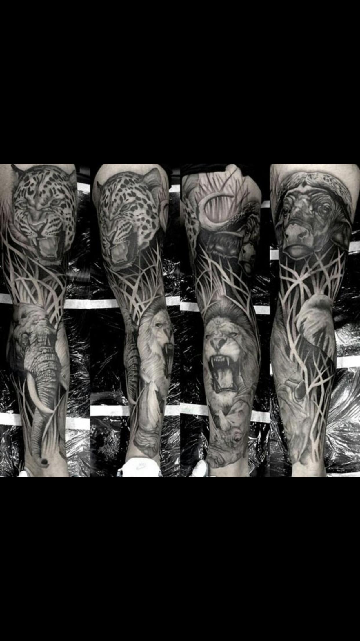Pin By Tattoo Sensations On Tattoo Ideas Animal Sleeve Tattoo Tattoo Sleeve Designs Jungle Tattoo